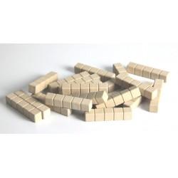 Matériel de numération base 10 en bois recyclé : 20 barres de 5 unités