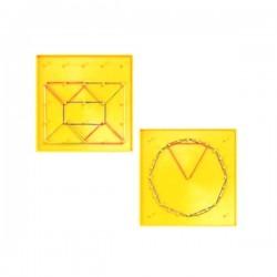 Géoplan 2 faces : carré et cercle