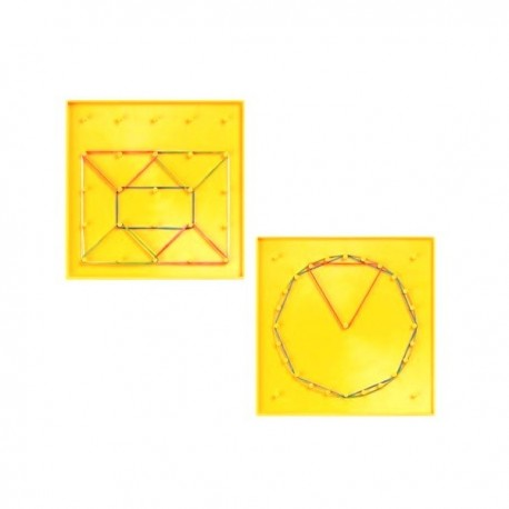 Géoplan 2 faces carré cercle 15 cm x 15 cm