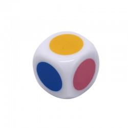 Dé 6 faces points de couleur